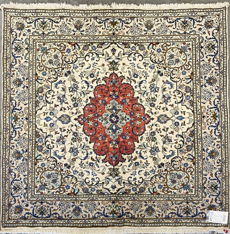 "Persian Yazd Traditional Style Hand-Knotted Natural Wool and Cotton Rug  6'8'' X 6'7"" ABCR02896"