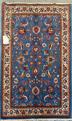 "Persian Nain Traditional Style Hand-Knotted Natural Wool and Silk Rug  7'1'' X 4'3"" ABCR02920"