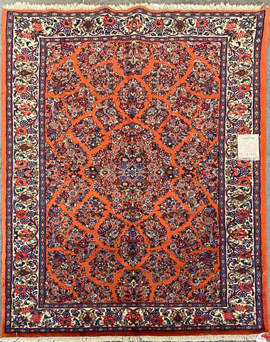 "Persian Sarough Traditional Style Hand-Knotted Natural Wool and Cotton Rug  7'2'' X 4'4"" ABCR02760"