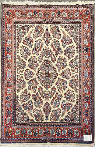 "Persian Sarough Traditional Style Hand-Knotted Natural Wool and Cotton Rug  7'11'' X 6'8"" ABCR02876"