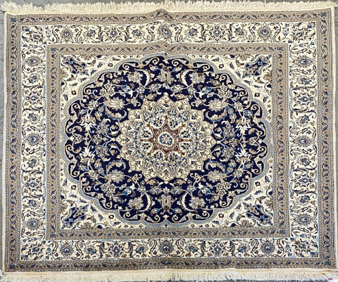 "Persian Nain Traditional Style Hand-Knotted Natural Wool and Cotton Rug  6'8'' X 6'8"" ABCR02780"