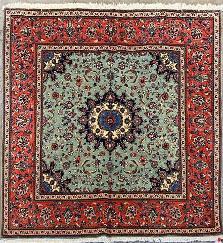 "Persian Yazd Traditional Style Hand-Knotted Natural Wool and Cotton Rug  6'5'' X 6'4"" ABCR02894"