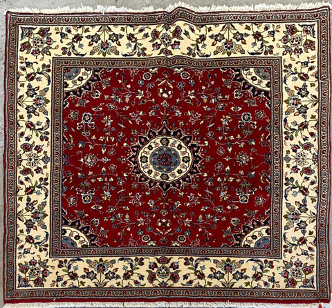 "Persian Yazd Traditional Style Hand-Knotted Natural Wool and Cotton Rug  6'5'' X 6'5"" ABCR02895"
