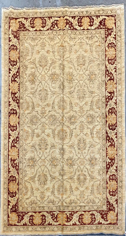 "Pakistani Traditional Style Hand-Knotted Natural Wool and Cotton Rug 7'10'' X 5'8"" ABCPK10626"