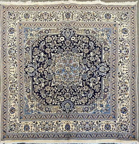 "Persian Nain Traditional Style Hand-Knotted Natural Wool and Cotton Rug  6'6"" X 6'6"" ABCR022838"