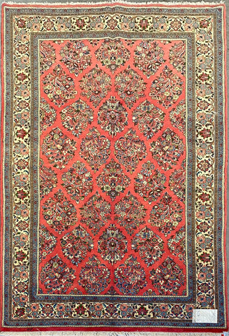 "Persian Sarough Traditional Style Hand-Knotted Natural Wool and Cotton Rug  8'5"" X 5'5"" ABCR022870"