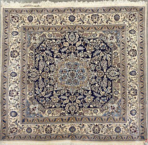 "Persian Nain Traditional Style Hand-Knotted Natural Wool and Cotton Rug  6'8"" X 6'8"" ABCR02781"