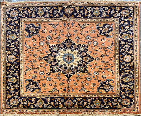 "Persian Yazd Traditional Style Hand-Knotted Natural Wool and Cotton Rug  6'6"" X 6'5"" ABCR02786"