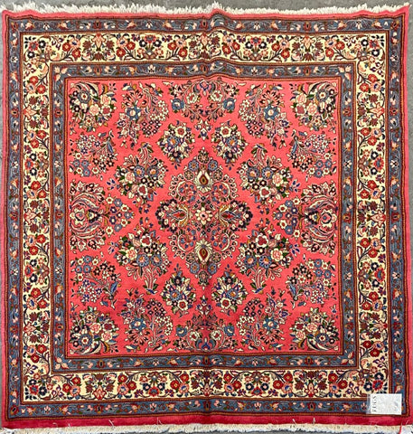 "Persian Sarough Traditional Style Hand-Knotted Natural Wool and Cotton Rug  7'0"" X 7'11"" ABCR02872"