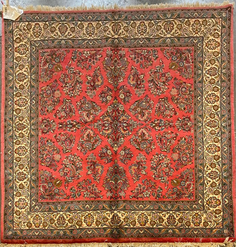 "Persian Sarough Traditional Style Hand-Knotted Natural Wool and Cotton Rug  7'1"" X 6'10"" ABCR02873"