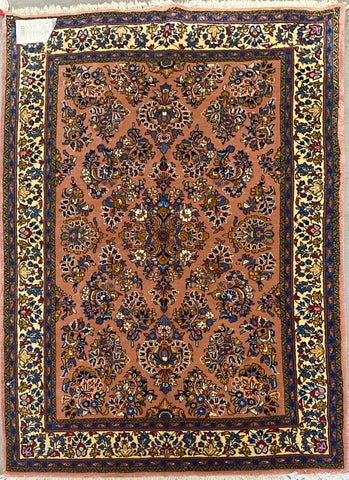 "Persian Sarough Traditional Style Hand-Knotted Natural Wool and Cotton Rug  6'10"" X 4'7'' ABCR02430"