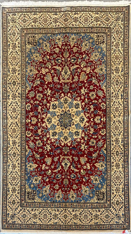 "Persian Nain Traditional Style Hand-Knotted Natural Wool and Cotton Rug  6'5"" X 4'2'' ABCR02410"
