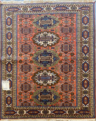 "Persian Ardabil Traditional Style Hand-Knotted Natural Wool and Silk Rug  6'6"" X 4'7'' ABCR02485"