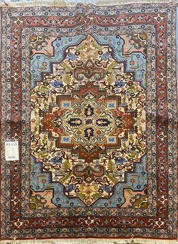 "Persian Ardabil Traditional Style Hand-Knotted Natural Wool and Silk Rug  6'2"" X 4'5'' ABCR02526"