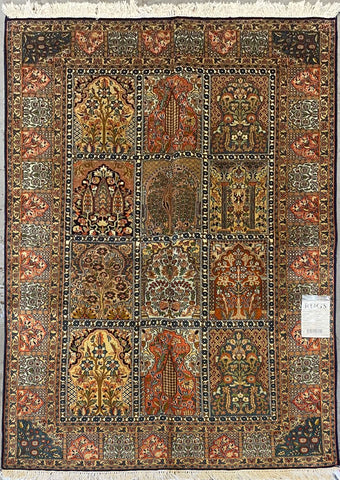 "Indian Traditional Style Hand-Knotted Natural Silk and Cotton Rug from Kashmir 6'2'' X 3'11"" ABCR002392"