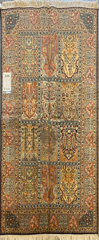 "Indian Traditional Style Hand-Knotted Natural Silk and Cotton Rug from Kashmir 6'3'' X 4'0"" ABCR002394"