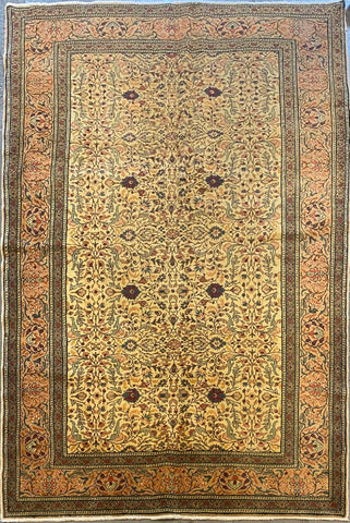 "Indian Traditional Style Hand-Knotted Natural Silk and Cotton Rug from Kashmir 4'8'' X 7'4"" ABCR045"