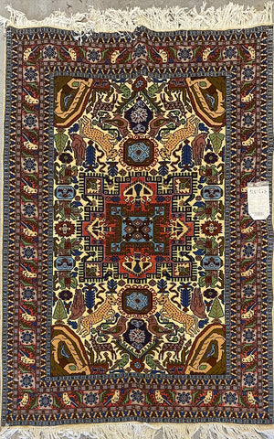 "Persian Ardabil Traditional Style Hand-Knotted Natural Wool and Silk Rug 6'4'' X 4'3"" ABCR02525"