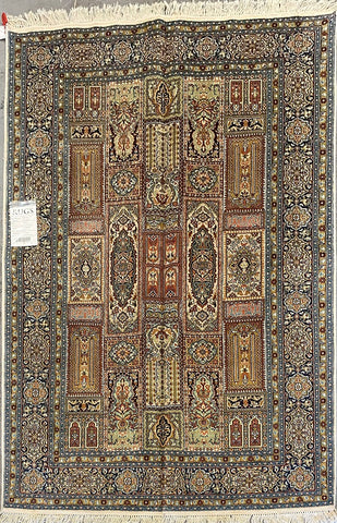 "Indian Traditional Style Hand-Knotted Natural Silk and Cotton Rug from Kashmir 4'1'' X 6'1"" ABCR00122"