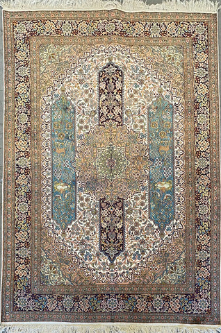 "Indian Traditional Style Hand-Knotted Natural Silk and Cotton Rug from Kashmir 7'0'' X 5'2"" ABCR002390"