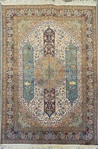 "Indian Traditional Style Hand-Knotted Natural Silk and Cotton Rug from Kashmir 6'11'' X 5'0"" ABCR002389"