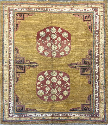 "Afghani Khotan Traditional Style Hand-Knotted Natural Wool Rug 5'3'' X 7'3"" ABCR3322"
