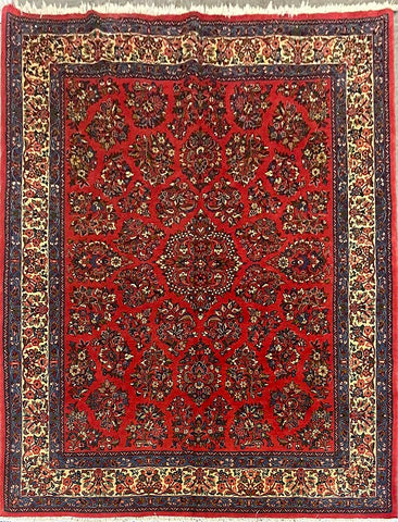 "New Persian Sarough Traditional Style Hand-Knotted Natural Wool and Cotton Rug 8'6'' X 6'11"" ABCR02876"