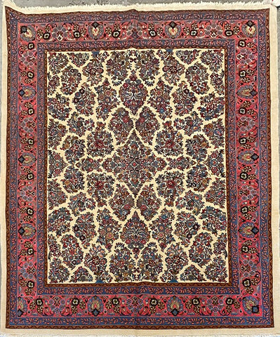 "Persian Sarough Traditional Style Hand-Knotted Natural Wool and Cotton Rug 8'11"" X 6'11"" ABCR02794"