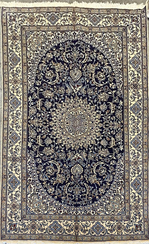 "Persian Nain Traditional Style Hand-Knotted Natural Wool and Silk Rug 10'0"" X 6'6"" ABCR02841"