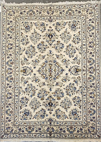 "Persian Yazd Traditional Style Hand-Knotted Natural Wool and Cotton Rug 9'9"" X 6'5"" ABCR02898"