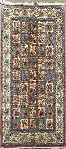"Persian Yazd Traditional Style Hand-Knotted Natural Wool and Cotton Rug 9'11"" X 6'5"" ABCR02458"