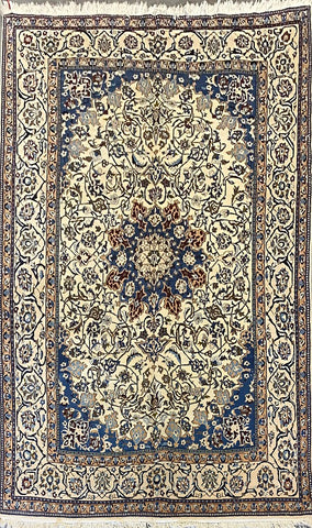 "Persian Nain Traditional Style Hand-Knotted Natural Wool and Cotton Rug 6'7"" X 10'0"" ABCR039"