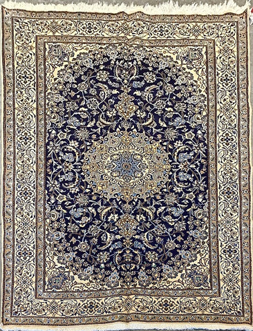"Persian Nain Traditional Style Hand-Knotted Natural Wool and Silk Rug 9'7"" X 6'5"" ABCR-2842"