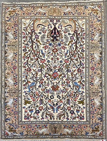 "Persian Yazd Traditional Style Hand-Knotted Natural Wool and Cotton Rug  10'1"" X 6'5"" ABCR02897"
