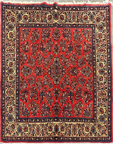 "Persian Sarough Traditional Style Hand-Knotted Natural Wool and Cotton Rug  7'8"" X 7'2"" ABCR02875"