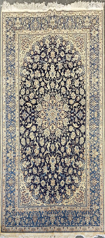 "Persian Nain Traditional Style Hand-Knotted Natural Wool and Silk Rug  9'8"" X 5'4"" ABCR1"
