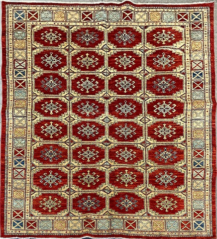 "Turkish Traditional Style Natural Wool and Cotton Rug 6' X 8'8"" ABCTK004"