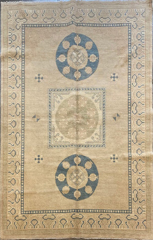 "Pakistani Traditional Style Hand-Knotted Natural Wool and Cotton Rug from Peshawar 8'9'' X 5'9"" ABCR01752"