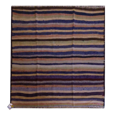 PERSIAN VINTAGE HAND-KNOTTED KILIM MADE WITH NATURAL WOOL AND COTTON 128 X 117cm ABC1893
