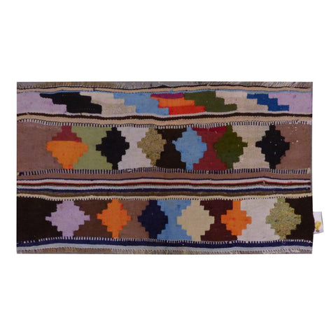 PERSIAN VINTAGE HAND-KNOTTED KILIM MADE WITH NATURAL WOOL AND COTTON 130 X 75cm ABC1577
