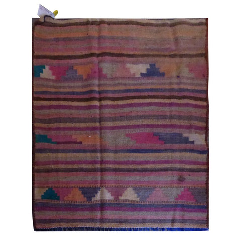 PERSIAN VINTAGE HAND-KNOTTED KILIM MADE WITH NATURAL WOOL AND COTTON 120 X 108cm ABC1732