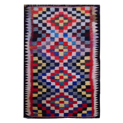 PERSIAN VINTAGE HAND-KNOTTED KILIM MADE WITH NATURAL WOOL AND COTTON 260 X 90cm ABC1649