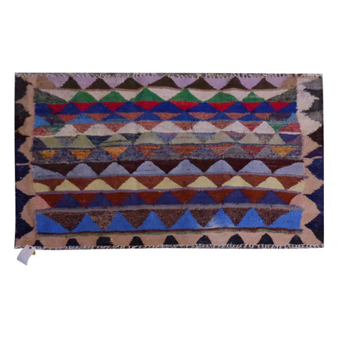 PERSIAN VINTAGE HAND-KNOTTED KILIM MADE WITH NATURAL WOOL AND COTTON 140 X 105cm ABC1598