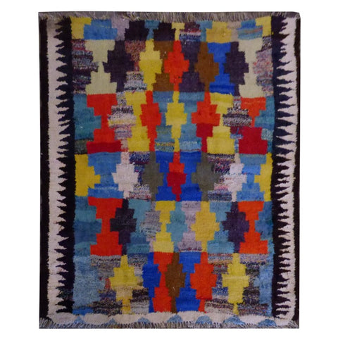 PERSIAN VINTAGE HAND-KNOTTED KILIM MADE WITH NATURAL WOOL AND COTTON 130 X 130cm ABC1500