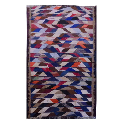 PERSIAN VINTAGE HAND-KNOTTED KILIM MADE WITH NATURAL WOOL AND COTTON 252 X 107cm ABC1624
