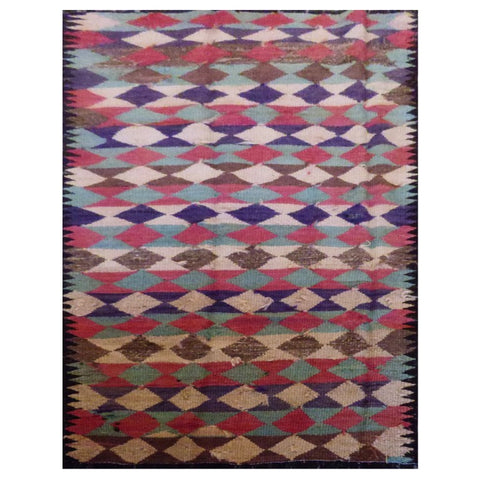PERSIAN VINTAGE HAND-KNOTTED KILIM MADE WITH NATURAL WOOL AND COTTON 220 X 102cm ABC1861