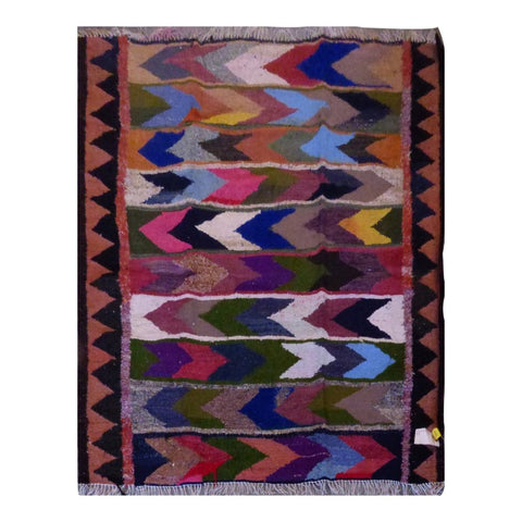 PERSIAN VINTAGE HAND-KNOTTED KILIM MADE WITH NATURAL WOOL AND COTTON 157 X 147cm ABC1603