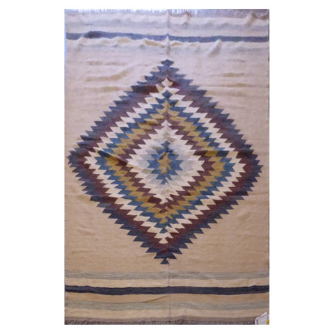 AFGHANI MAIMANA HAND-KNOTTED KILIM MADE WITH NATURAL WOOL AND COTTON 6'8'' X 10'2'' ABC133