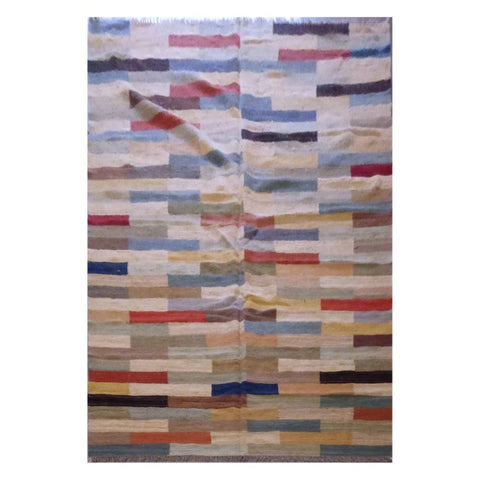 AFGHANI MAIMANA HAND-KNOTTED KILIM MADE WITH NATURAL WOOL AND COTTON 6'8'' X 10'1'' ABC118
