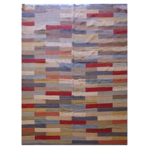 AFGHANI MAIMANA HAND-KNOTTED KILIM MADE WITH NATURAL WOOL AND COTTON 6'7'' X 9'11'' ABC167